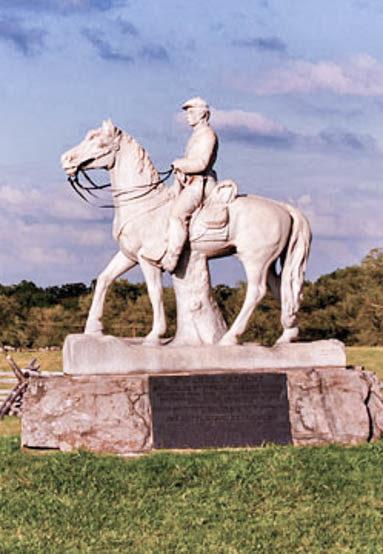 Gettysburg statue in a battlefield