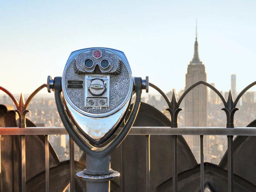 City telescope pointed toward the NYC skyline