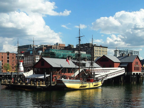 Historical boats in Boston Harbor