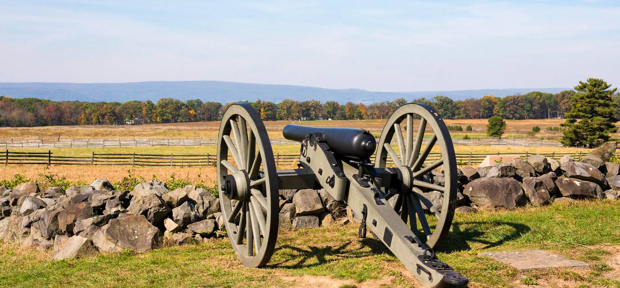 Cannons on the field at Gettysburg