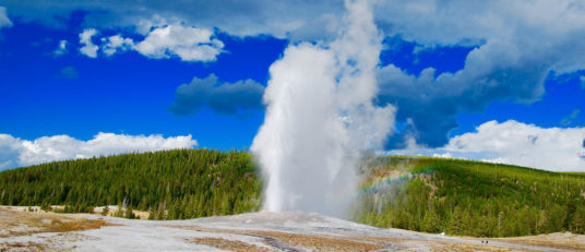 Geyser spewing at Yellowstone National Park