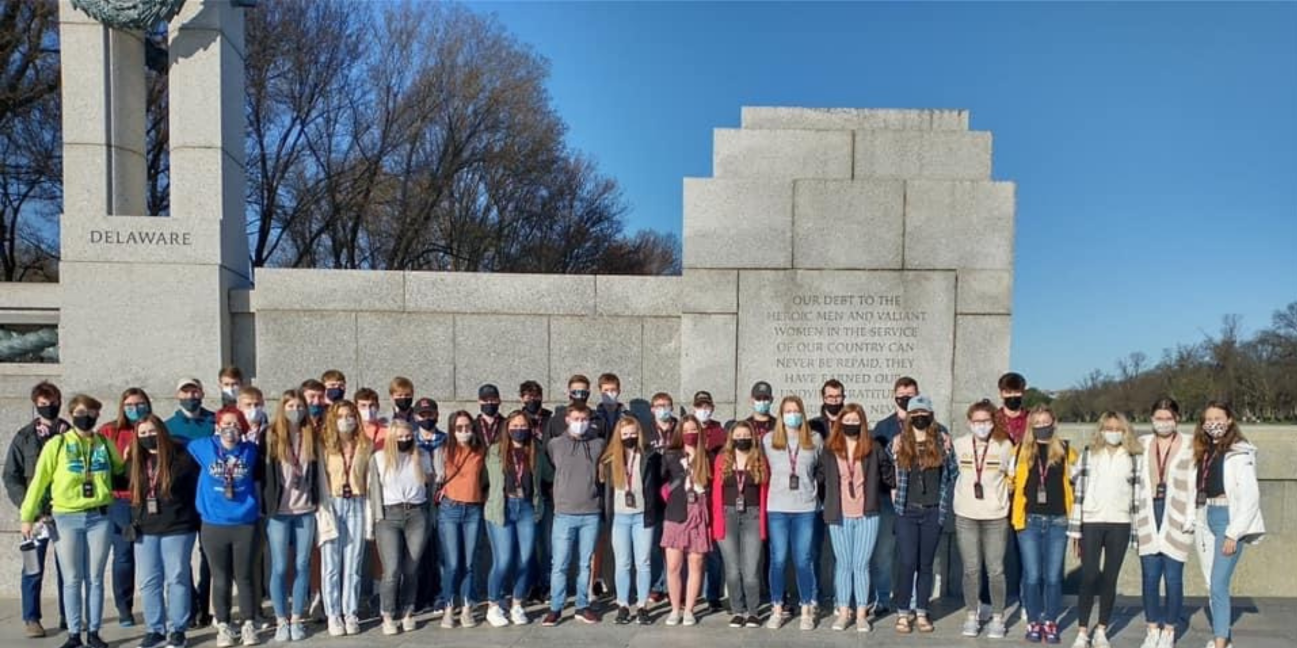 Fully Masked Student Group at WWII Memorial